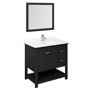 Fresca Fvn2336bl Black Cambria 36 Free Standing Single Basin Vanity Set With Wood Cabinet Quartz Vanity Top Framed Mirror And Deck Mounted Faucet Faucet Com