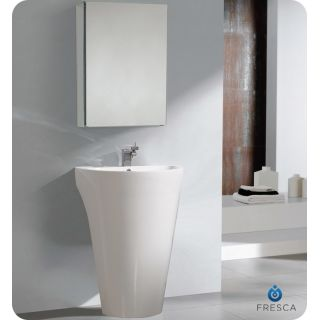 Fresca Fvn5023wh White Parma 24 Acrylic Vanity With Rectangular 19 W X 26 H Medicine Cabinet Sink Faucet And Installation Hardware Faucet Com