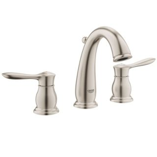 Grohe 124084 Warm Brushed Nickel Parkfield Widespread Bathroom Faucet With Silkmove And Quickfix Technologies Free Metal Pop Up Drain Assembly With Purchase Faucet Com