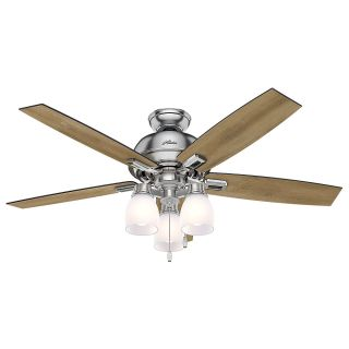"hunter 53338 brushed nickel 52"" indoor ceiling fan - 5 reversible"