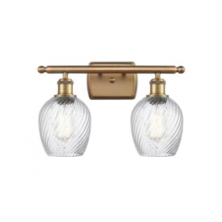 Innovations Lighting 516 2w Bb G292 Brushed Brass Clear Spiral Fluted Salina 2 Light 16 Wide Bathroom Vanity Light Lightingdirect Com