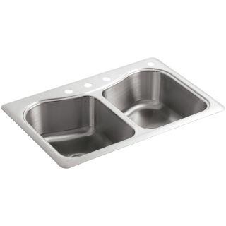"""Kohler Stainless Steel Kitchen Sinks kohler k-3369-4-na stainless steel staccato 33"""" double basin top"""