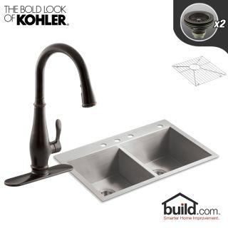 Kohler K-3820-4/K-780-VS Vibrant Stainless Faucet Vault Kitchen Kit ...