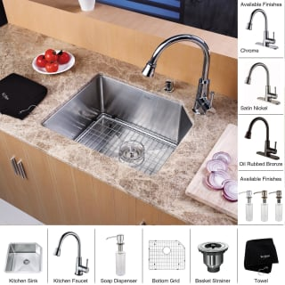 Kraus khu121 23 kpf2220 ksd30ch stainless steel chrome for Faucet and soap dispenser placement