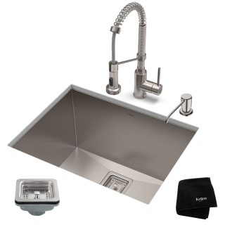 Kraus Khu24l 1610 53ss Stainless Steel Pax 24 Undermount Single Basin Stainless Steel Kitchen Sink With Deck Mounted 1 8 Gpm Pre Rinse Kitchen Faucet With Soap Dispenser Faucetdirect Com