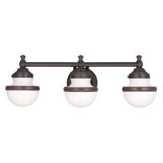 Blown Glass Vanity Light : Livex Lighting 5713-67 Olde Bronze Oldwick 3 Light Vanity Light with Hand-Blown Glass Shades ...