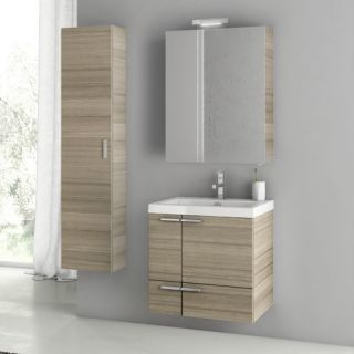 Nameeks Acf Ans152 Larch Canapa Acf 23 6 15 Wall Mounted Floating Vanity Set With Wood Cabinet Ceramic Top With 1 Sink And 1 Mirror