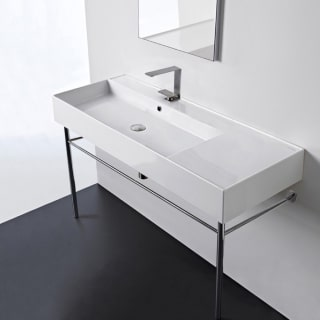 Nameeks Scarabeo 5121 Con No Hole White Teorema 2 0 48 Rectangular Ceramic Console Bathroom Sink Includes Overflow Faucetdirect Com