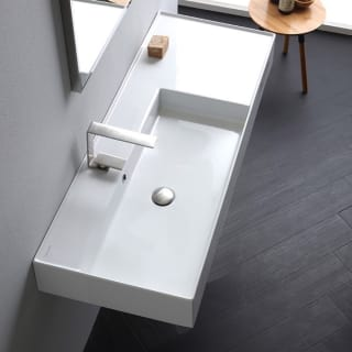 Nameeks Scarabeo 5121 Three Hole White Teorema 2 0 48 Rectangular Ceramic Vessel Or Wall Mounted Bathroom Sink With Overflow Faucet Com
