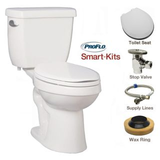 proflo white twopiece high efficiency ada height toilet with round bowl and right mounted trip lever molded wood seat and all