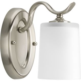 Progress lighting p2018 09 brushed nickel inspire 1 light bathroom wall sconce with etched glass for Bathroom wall sconces brushed nickel