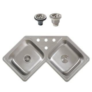 Ticor S999 Bundle Stainless Steel Stainless Steel 18 Gauge 44 Wide Corner Drop In Kitchen Sink With 50 50 Double Basin And 2 Stainless Steel Basin Racks Faucetdirect Com