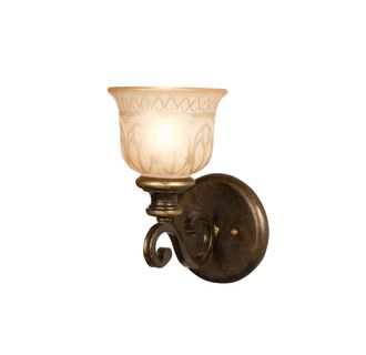 "Norwalk Single Light 11"" High Wall Sconce with Amber Etched Glass Shade"