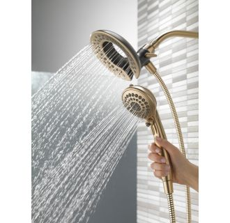 delta chrome in2ition 2in1 shower head and hand shower with 5 spray settings includes shower hose and shower arm mount