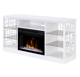 Charlotte 59-5/8 Inch Wide Media Console with 5118 BTU Free Standing Electric Fireplace and Acrylic Ice Burner Assembly