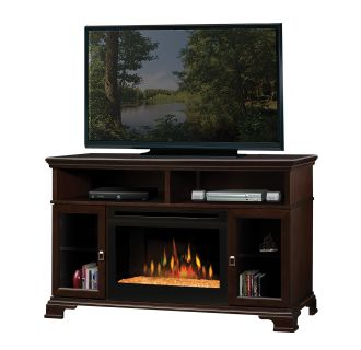 Brookings 53 Inch Wide Media Console with 3000 BTU Electric Fireplace and Glass Ember Burner Assembly