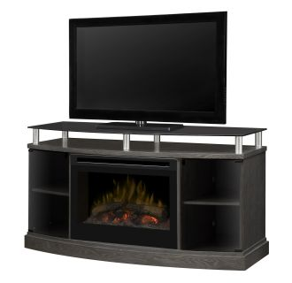 Windham 53 Inch Wide Media Console with 3000 BTU Electric Fireplace and Log Burner Assembly