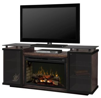 """Aiden Media Console with 33"""" Wide Electric Fireplace and Log Burner Assembly"""