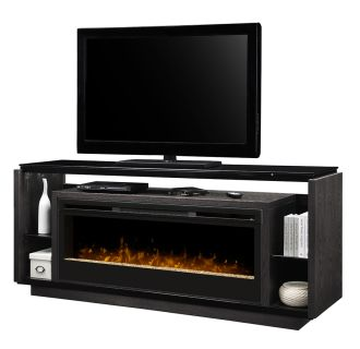 """David Media Console with 50"""" Wide Electric Fireplace and Glass Ember Burner Assembly"""