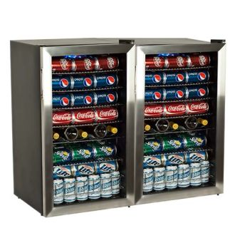 206 Can and 10 Bottle Side-by-Side Beverage Coolers with Extreme Cool