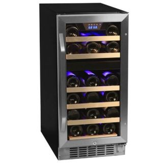 15 Inch Wide 26 Bottle Built-In Wine Cooler with Dual Cooling Zones