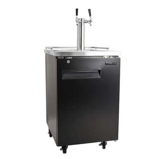 24 Inch Wide Double Tap Kegerator with Built-In Drip Tray