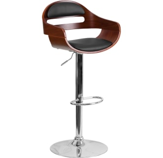 Beech Bentwood Adjustable Height Barstool with Black Vinyl Seat and Cutout Padded Back
