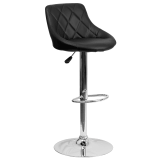 Contemporary Quilted Vinyl Bucket Seat Adjustable Height Bar Stool with Chrome Base