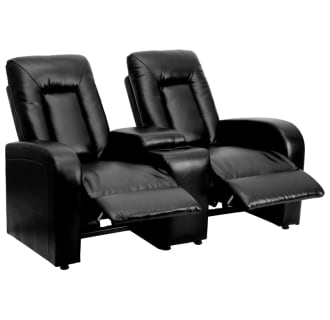 Marie Series 2-Seat Reclining Leather Theater Seating Unit with Cup Holders