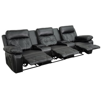Grant Comfort Series 3-Seat Reclining Leather Theater Seating Unit with Straight Cup Holders