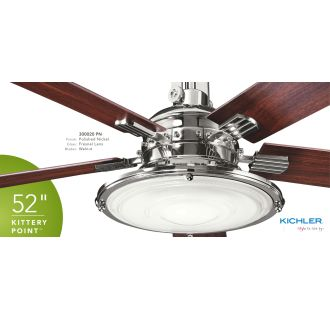 Kichler 300020pn Polished Nickel Kittery Point 52 Quot Ceiling Fan With Blades Light Kit And Remote