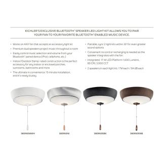 Kichler 380950mwh Matte White Led Bluetooth Speaker Fan