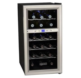 14 Inch Wide 18 Bottle Wine Cooler with Dual Thermoelectric Cooling Zones