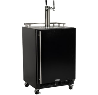 Built-In Full Size Twin Tap Mobile Kegerator Black Door - Right Hinge