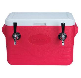28 Quart 2 Faucet Red Jockey Box Coil Cooler