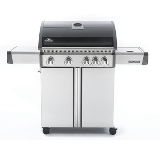 57200 BTU 55 Inch Wide Liquid Propane Stainless Steel Free Standing Grill with Side Range Burner and Folding Side Panels