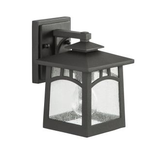 "Textured Black Carytown 9"" Tall Single Light Outdoor Wall Sconce"