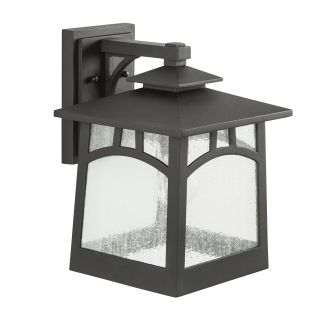 """Textured Black Carytown 14"""" Tall Single Light Outdoor Wall Sconce"""