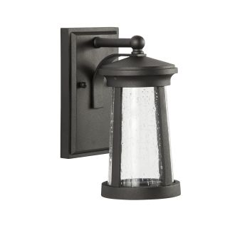 """Woodberry 11"""" Tall Single Light LED Outdoor Wall Sconce with Seeded Glass Shade"""