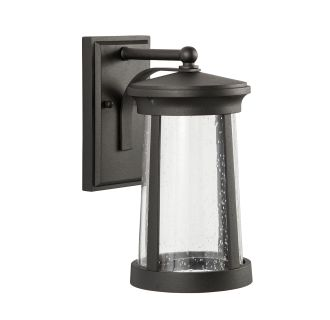 "Woodberry 13"" Tall Single Light LED Outdoor Wall Sconce with Seeded Glass Shade"