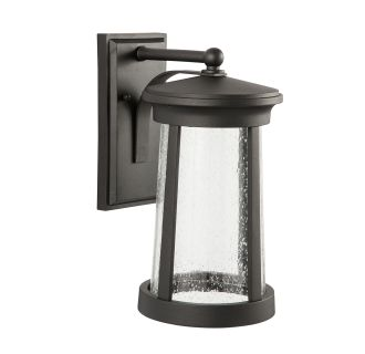 "Woodberry 16"" Tall Single Light LED Outdoor Wall Sconce with Seeded Glass Shade"
