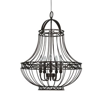 "24"" Wide 5 Light Single Tier Empire Style Chandelier with Cage Style Frame"