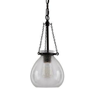"8"" Wide Single Light Mini Pendant with Seedy Glass Shade"