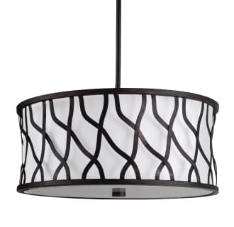 "19"" Wide 3 Light Foyer Pendant with Drum Shade and Patterned Metal"