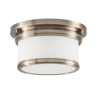 "Single Light 9-1/2"" Wide Flush Mount Drum Ceiling Fixture with Frosted Glass Shade"