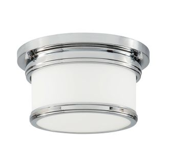 """Single Light 9-1/2"""" Wide Flush Mount Drum Ceiling Fixture with Frosted Glass Shade"""