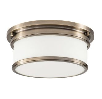 "2 Light 12-1/2"" Wide Flush Mount Drum Ceiling Fixture with Frosted Glass Shade"
