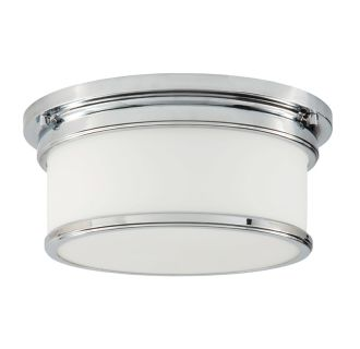 """2 Light 12-1/2"""" Wide Flush Mount Drum Ceiling Fixture with Frosted Glass Shade"""