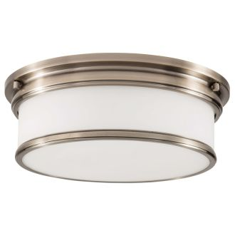 "3 Light 15-1/2"" Wide Flush Mount Drum Ceiling Fixture with Frosted Glass Shade"