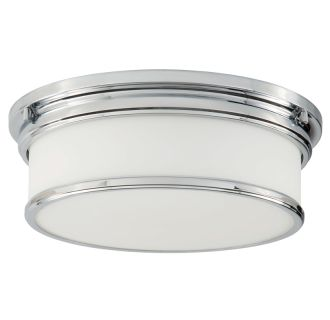 """3 Light 15-1/2"""" Wide Flush Mount Drum Ceiling Fixture with Frosted Glass Shade"""